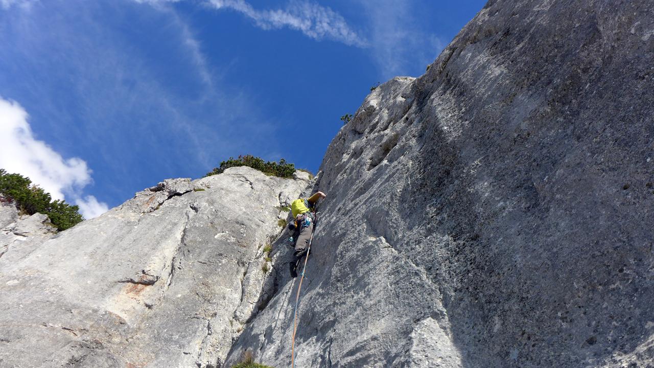 """Steinplatte S-Wand, """"Wallfahrt"""" (220m, 6b+)"""